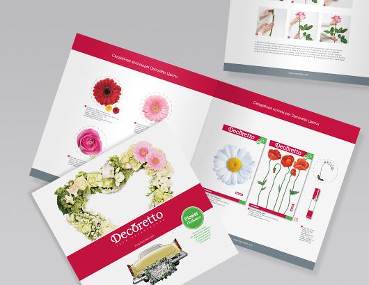 Верстка каталога свадебных стикеров Decoretto